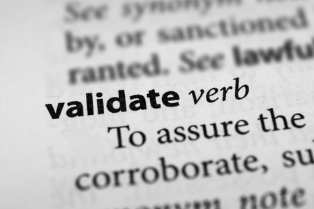 substantiate: Validate Stock Photo