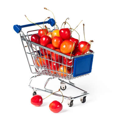 shopping buggy: Isolated shopping trolley Stock Photo