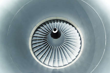 aeroengine: Close up and detailed view of airplane engine turbine blades. Stock Photo