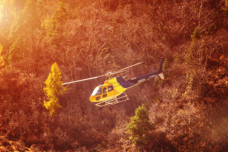 Rescue helicopter over the trees in the mountains Banque d'images