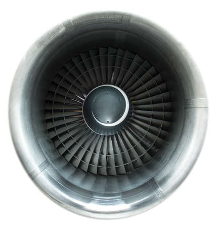 Front view on jet engine. Isolated on white.