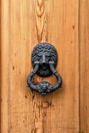 Hameçon de tête de tête de lion, porte en bois vintage, extérieur.
