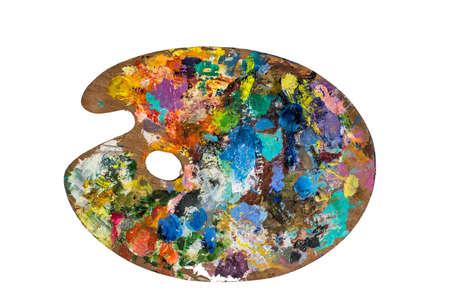 Palette d'artiste avec différentes couleurs isolées sur fond blanc. Avec le chemin de découpage. Banque d'images