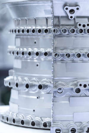 Close up of airplane engine components during maintenance. Banque d'images