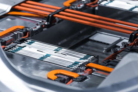 Electric car lithium battery pack and power connections. Banco de Imagens