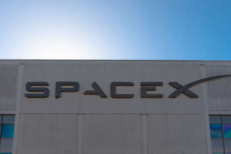 FLORIDA, USA, 27th August 2019, SpaceX headquarters at Hawthorne, Los Angeles. With blue sky background.
