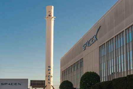 FLORIDA, USA, 27th August 2019, SpaceX headquarters with Falcon 9 rocket on background at Hawthorne, Los Angeles.
