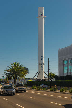 FLORIDA, USA, 27th August 2019, Falcon 9 rocket near SpaceX headquarters at Hawthorne, Los Angeles.