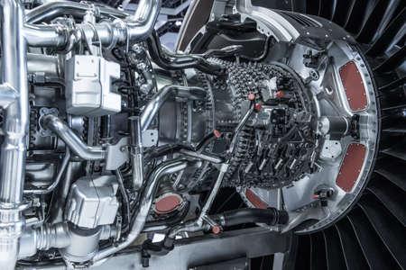 Turbine Engine. Aviation Technologies. Aircraft jet engine detail during maintenance. Blue toned. Stockfoto