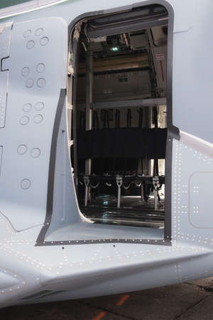 Military Cargo Aircraft. Jump seats on display.