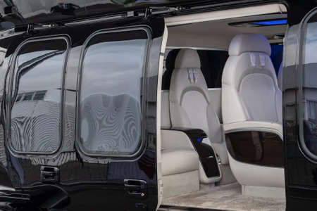 Helicopter passenger leather seats. Interior of luxury helicopter.