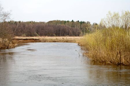 The deep river flows among as in spring naked coast