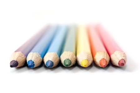 Seven pencils as a rainbow with a shade on a white background Stock Photo