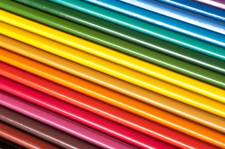 Background from the colour pencils located as a rainbow Stock Photo