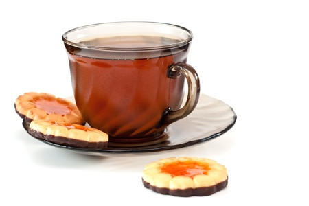 Tea in a glass cup, on a dish cookies Stock Photo - 10734585