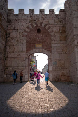 Bursa's first settlement, Hisar District and Byzantine castle gate. Bursa, Tuırkey - June 7, 2019