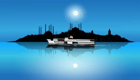Istanbul's silhouette and passenger ferry under the moonlight. Ullustration, drawing Stockfoto