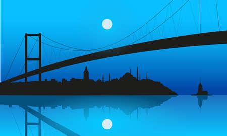 Istanbul silhouette and Bosphorus Bridge at sunset. illustration. Stockfoto