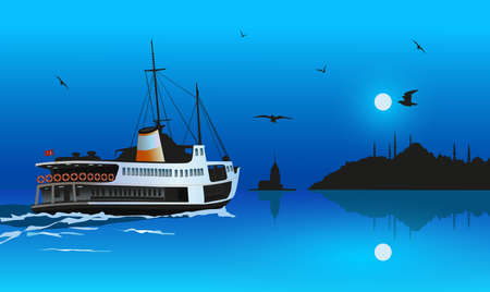 Silhouette of istanbul in the moonlight. Traditional passenger ship in the boshorus.Ullustration, drawing
