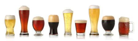 various: Various glasses of different beers, isolated on white