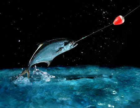 Catching a big fish with a fishing pole at night Stock Photo - 634576