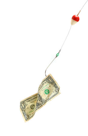 Money on a fishing hook. White backgorund photo