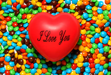 Colorful candy background with a red heart from my Valentine series photo