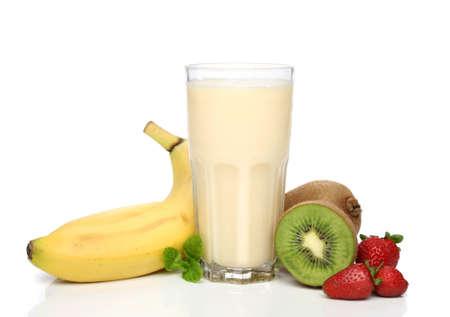 licuado de platano: Banana smoothie de frutas con composici�n  Foto de archivo