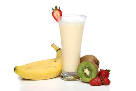 licuado de platano: Banana smoothie de frutas con la composici�n