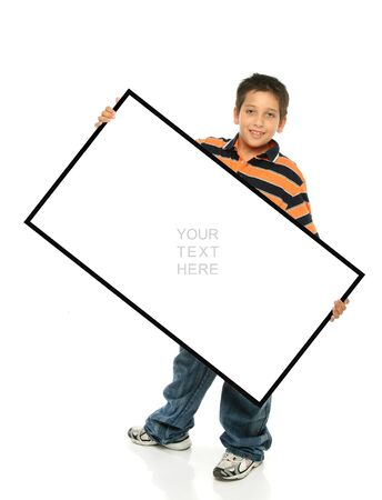 Child holding an empty sign over a white background Stock Photo - 989875
