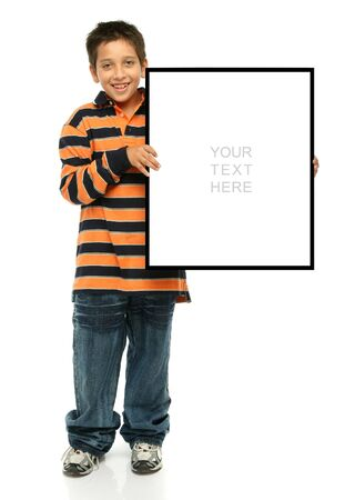 Child holding an empty sign over a white background photo