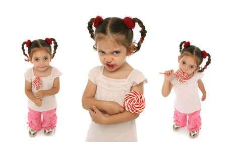 Little girl holding a lollypop with different expressions and emotions. photo