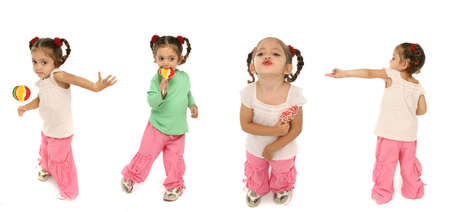 wrath: Little girl holding a lollipop with different expressions and emotions.
