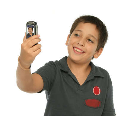 Boy taking his photo with a mobile phone photo