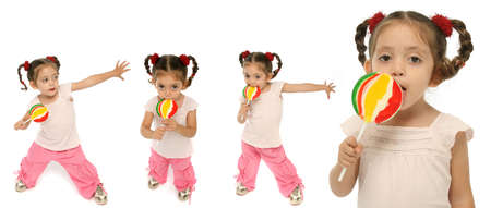 Little girl holding a lollipop with different expressions photo
