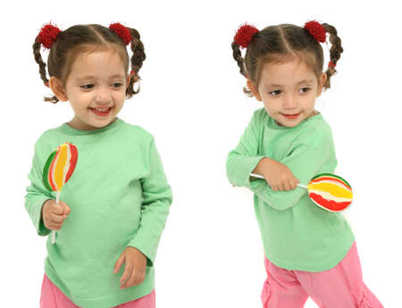 Little girl holding a lollipop with different expressions and emotions. photo