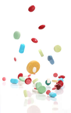 Falling medicine pills, from my pharmacy series Stock Photo - 4456083