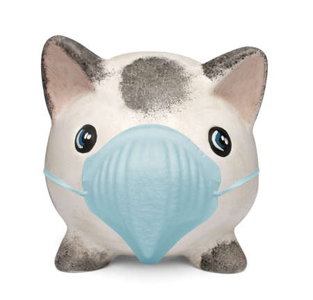 contagion: Piggy bank with a surgical mask, from my influenza series