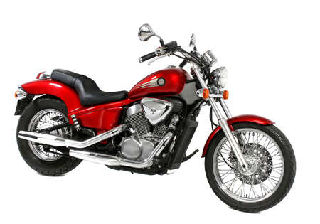 A red motorcycle, studio shot Stock Photo