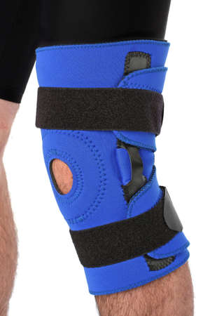 recuperation: Man wearing a leg brace, over white