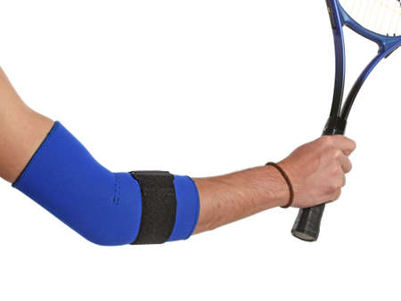 Tennis player wearing an elbow bandage, orthopedic series Stock Photo