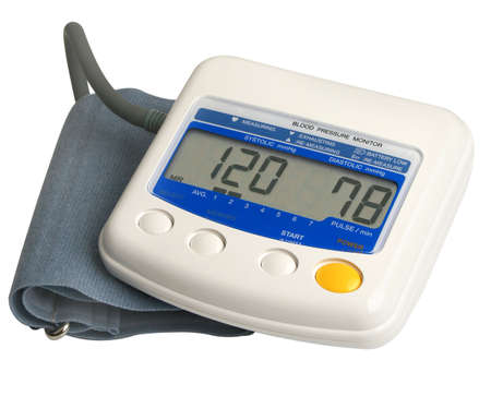 hypertensive: Digital blood pressure gauge over white