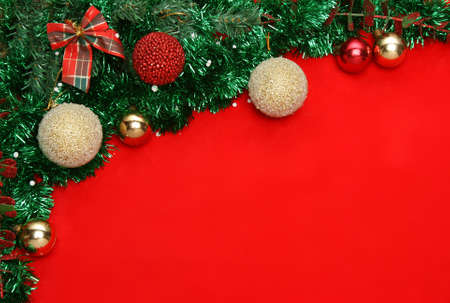 Christmas baubles and decorations with copyspace photo