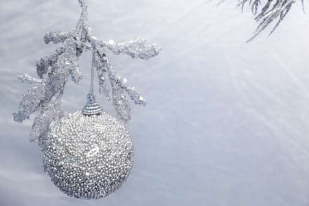 Silver christmas baubles and decorations photo