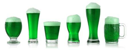 Different glasses of St. Patrick's Day green beer Standard-Bild