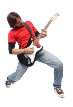 Guitar player playing rock and roll photo