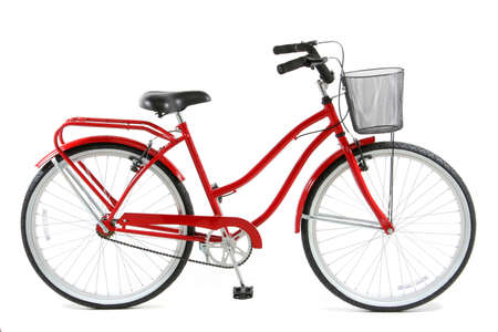 fietsketting: Rode fiets op witte achtergrond