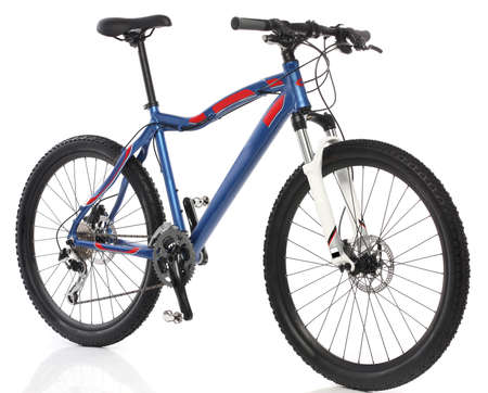 racing bike: Mountain Bicycle over white background Stock Photo