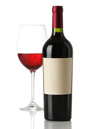 Red wine bottle with and empty label and glass photo