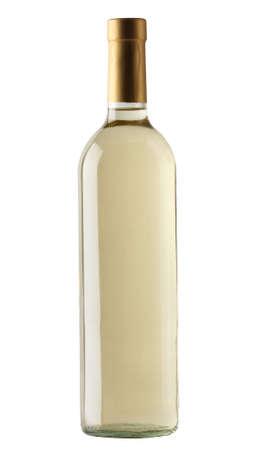 white wine bottle: Botella de vino blanco aislado sobre fondo blanco